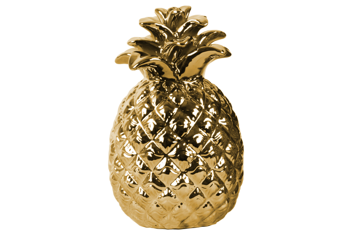 UTC43096 Ceramic Pineapple Figurine with Embossed Lattice Design Polished Chrome Finish Gold