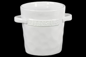 UTC43103 Ceramic Round Utensil Jar with 2 Handles on Side Gloss Finish White