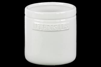 UTC43106 Ceramic Round Utensil Jar Gloss Finish White