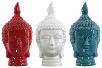 UTC43117-AST Ceramic Buddha Head Assortment of Three Gloss Finish Assorted Color (White, Red and Blue)