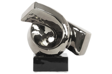 UTC43118 Ceramic Ribbon Abstract Sculpture on Rectangle Base Polished Chrome Finish Silver