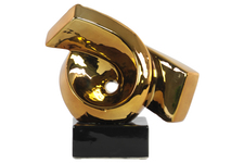 UTC43119 Ceramic Ribbon Abstract Sculpture on Rectangle Base Polished Chrome Finish Gold
