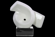 UTC43120 Ceramic Ribbon Abstract Sculpture on Rectangle Base Gloss Finish White