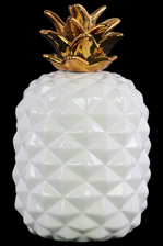 UTC43149 Ceramic Pineapple Figurine with Gold Top LG Gloss Finish White