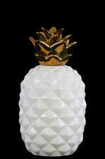 UTC43151 Ceramic Pineapple Figurine with Gold Top SM Gloss Finish White