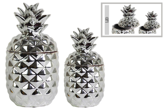 UTC43154 Ceramic 108 oz. Pineapple Canister Set of Two Polished Chrome Finish Silver