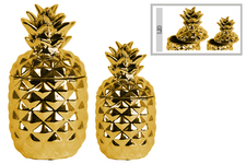 UTC43155 Ceramic 108 oz. Pineapple Canister Set of Two Polished Chrome Finish Gold