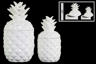UTC43156 Ceramic 108 oz. Pineapple Canister Set of Two Gloss Finish White