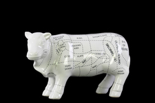 UTC43162 Ceramic Standing Beef Cut Chart Figurine Gloss Finish White