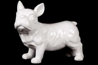 UTC43173 Ceramic Standing French Bulldog Figurine with Pricked Ears Gloss Finish White