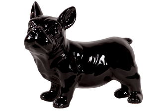 UTC43174 Ceramic Standing French Bulldog Figurine with Pricked Ears Gloss Finish Black