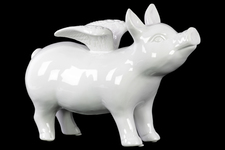 UTC43309 Ceramic Standing Pig Figurine with Wings Gloss Finish White