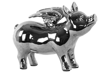 UTC43311 Ceramic Standing Pig Figurine with Wings Polished Chrome Finish Silver