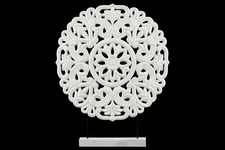UTC43400 Wood Round Buddhist Wheel Ornament on Rectangular Stand LG Matte Finish White