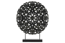 UTC43401 Wood Round Buddhist Wheel Ornament on Rectangular Stand LG Matte Finish Black