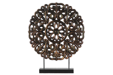 UTC43402 Wood Round Buddhist Wheel Ornament on Rectangular Stand LG Rubbed Finish Bronze