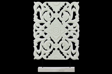 UTC43403 Wood Wide Rectangular Filigree Ornament on Rectangular Stand Matte Finish White