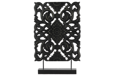 UTC43404 Wood Tall Rectangular Filigree Ornament on Rectangular Stand Matte Finish Black