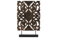 UTC43405 Wood Tall Rectangular Filigree Ornament on Rectangular Stand Rubbed Finish Bronze