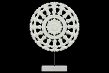 UTC43406 Wood Round Buddhist Wheel Ornament on Rectangular Stand SM Matte Finish White