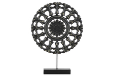 UTC43407 Wood Round Buddhist Wheel Ornament on Rectangular Stand SM Matte Finish Black