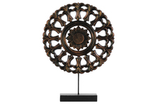 UTC43408 Wood Round Buddhist Wheel Ornament on Rectangular Stand SM Rubbed Finish Bronze