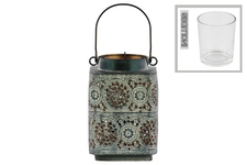 UTC43409 Metal Square Lantern with Pierced Metal Design Body, Round Mouth and 1 Handle Coated Finish Black