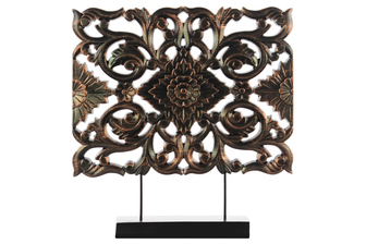 UTC43416 Wood Wide Rectangular Filigree Ornament on Rectangular Stand Rubbed Finish Bronze