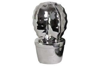 UTC43709 Ceramic Star Cactus Figurine on Pot Polished Chrome Finish Silver