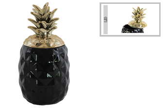 UTC43713 Ceramic 60 oz. Pineapple Canister with Gold Lid Coated Finish Finish Black