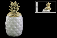 UTC43714 Ceramic 60 oz. Pineapple Canister with Gold Lid Coated Finish White
