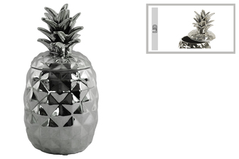 UTC43716 Ceramic 60 oz. Pineapple Canister Coated Finish Silver