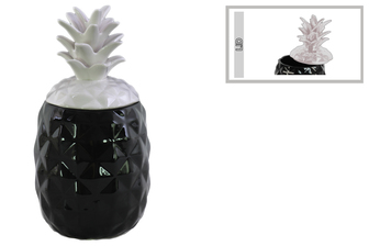 UTC43717 Ceramic 60 oz. Pineapple Canister with White Lid Coated Finish Black