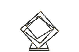 UTC43808 Metal Tangled Squares Abstract Sculpture on Square Base SM Metallic Finish Gunmetal Gray