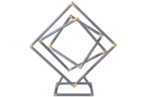 UTC43809 Metal Tangled Squares Abstract Sculpture on Square Base LG Metallic Finish Gunmetal Gray