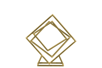 UTC43810 Metal Tangled Squares Abstract Sculpture on Square Base SM Metallic Finish Champagne