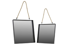 UTC43813 Metal Square Wall Mirror with Rope Hanger Set of Two Coated Finish Black