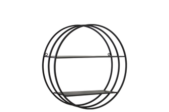 UTC43814 Metal Round Wall Shelf with Frame Design, 2 Tiers and 2 Keyhole Hangers Coated Finish Black