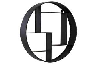 UTC43815 Metal Round Wall Shelf with 7 Slots and 2 Keyhole Hangers Coated Finish Black