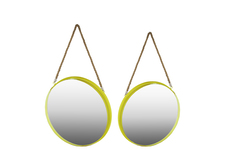 UTC43817 Metal Round Wall Mirror with Rope Hanger SM Set of Two Coated Finish Yellow