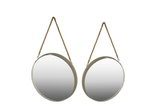 UTC43820 Metal Round Wall Mirror with Rope Hanger SM Set of Two Coated Finish Taupe