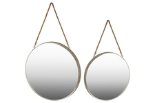 UTC43823 Metal Round Wall Mirror with Rope Hanger LG Set of Two Coated Finish Taupe