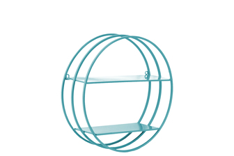 UTC43825 Metal Round Wall Shelf with Frame Design, 2 Tiers and 2 Keyhole Hangers Coated Finish Blue