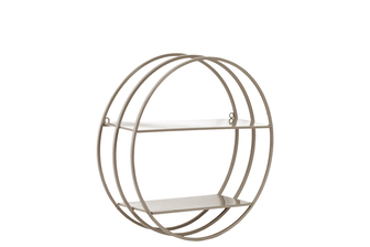 UTC43826 Metal Round Wall Shelf with Frame Design, 2 Tiers and 2 Keyhole Hangers Coated Finish Taupe