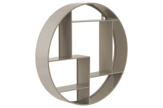 UTC43830 Metal Round Wall Shelf with 7 Slots and 2 Keyhole Hangers Coated Finish Taupe