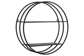 UTC43839 Metal Round Wall Shelf with Double Tiers and Back Ring Hangers Coated Finish Black