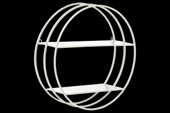 UTC43840 Metal Round Wall Shelf with Double Tiers and Back Ring Hangers Coated Finish White