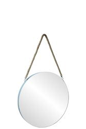 UTC43851 Metal Round Wall Mirror with Top Rope Hanger MD Coated Finish Blue