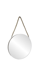 UTC43852 Metal Round Wall Mirror with Top Rope Hanger MD Coated Finish Taupe