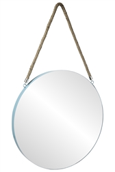 UTC43855 Metal Round Wall Mirror with Top Rope Hanger XL Coated Finish Blue